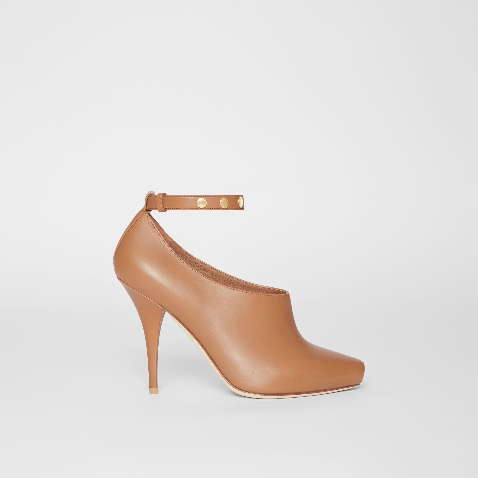Leather Peep-toe Pumps in Amber Brown - Women | Burberry - gallery image 5