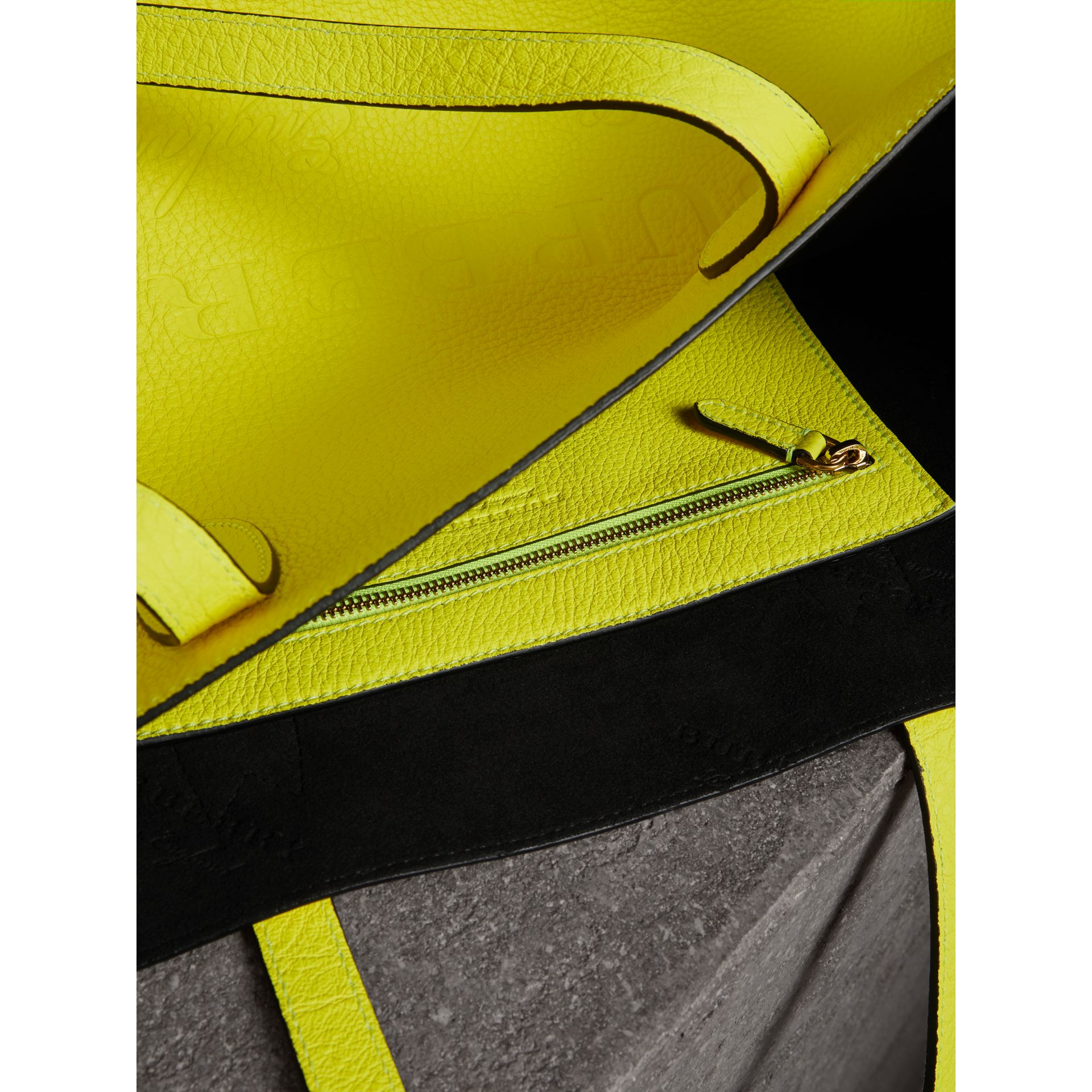 Large Embossed Leather Tote in Neon Yellow | Burberry - gallery image 3