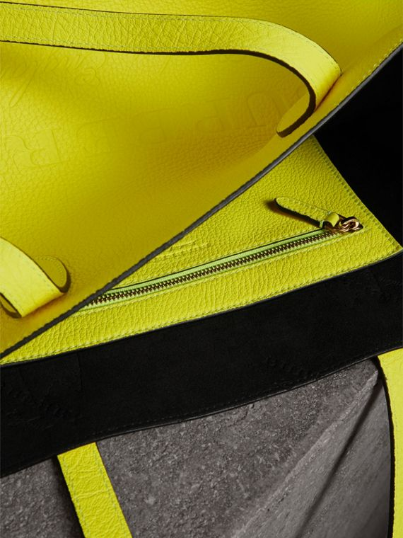 Large Embossed Leather Tote in Neon Yellow | Burberry - cell image 3