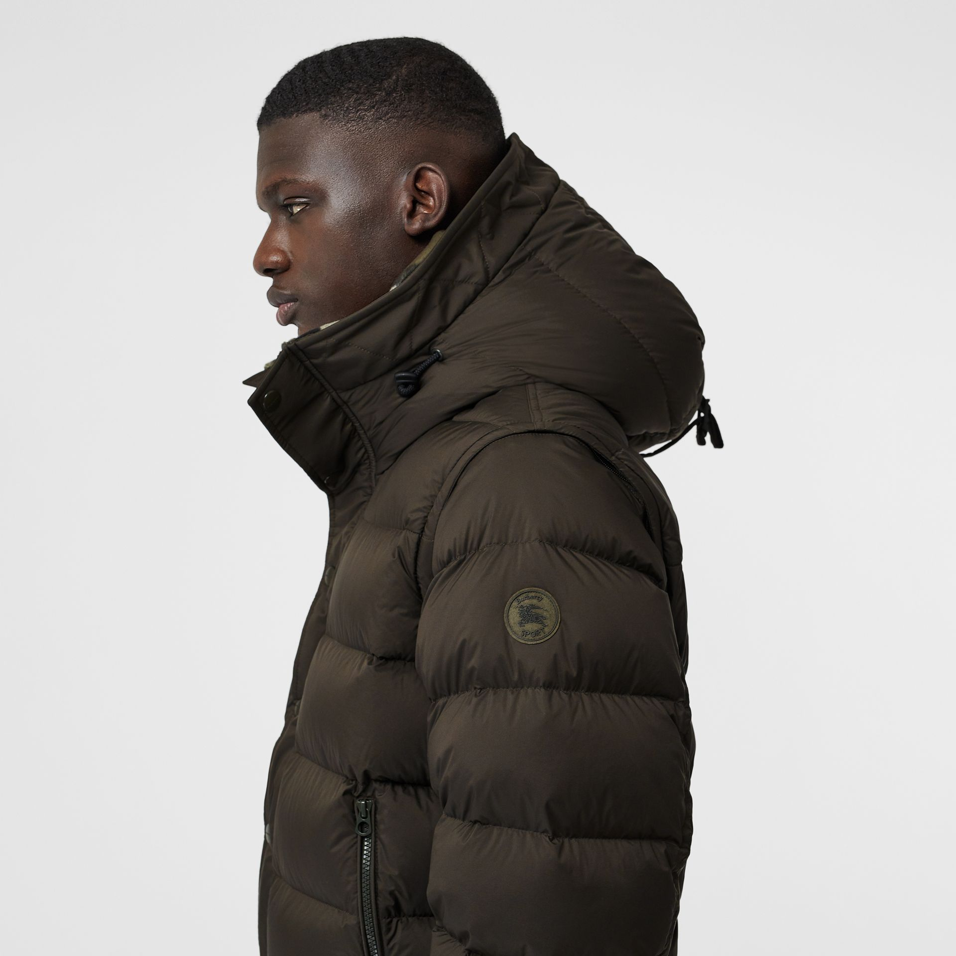 Detachable-sleeve Down-filled Hooded Puffer Jacket in Olive - Men | Burberry United States - gallery image 1