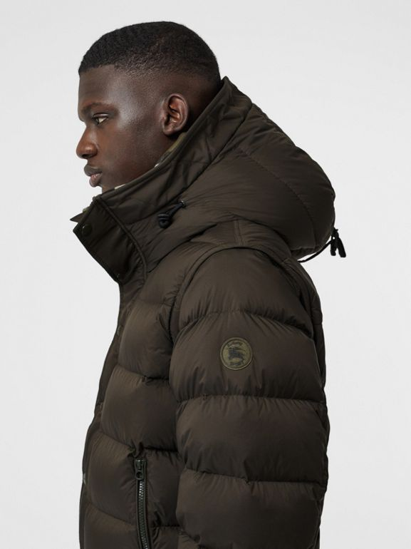 Detachable-sleeve Down-filled Hooded Puffer Jacket in Olive - Men | Burberry - cell image 1