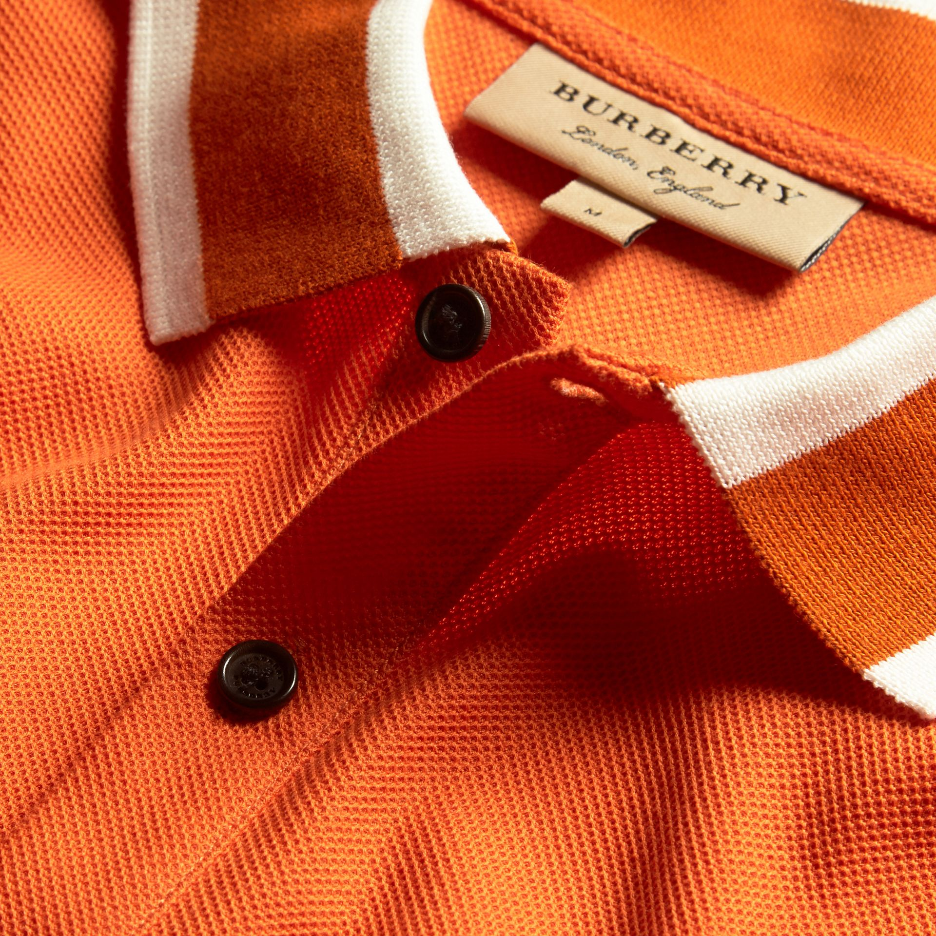 Striped Collar Cotton Piqué Polo Shirt Clementine - gallery image 2
