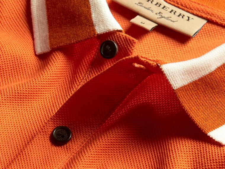 Striped Collar Cotton Piqué Polo Shirt Clementine - cell image 1