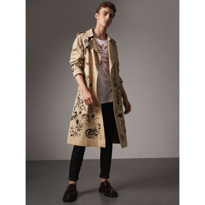 Doodle Print Cotton Gabardine Trench Coat by Burberry