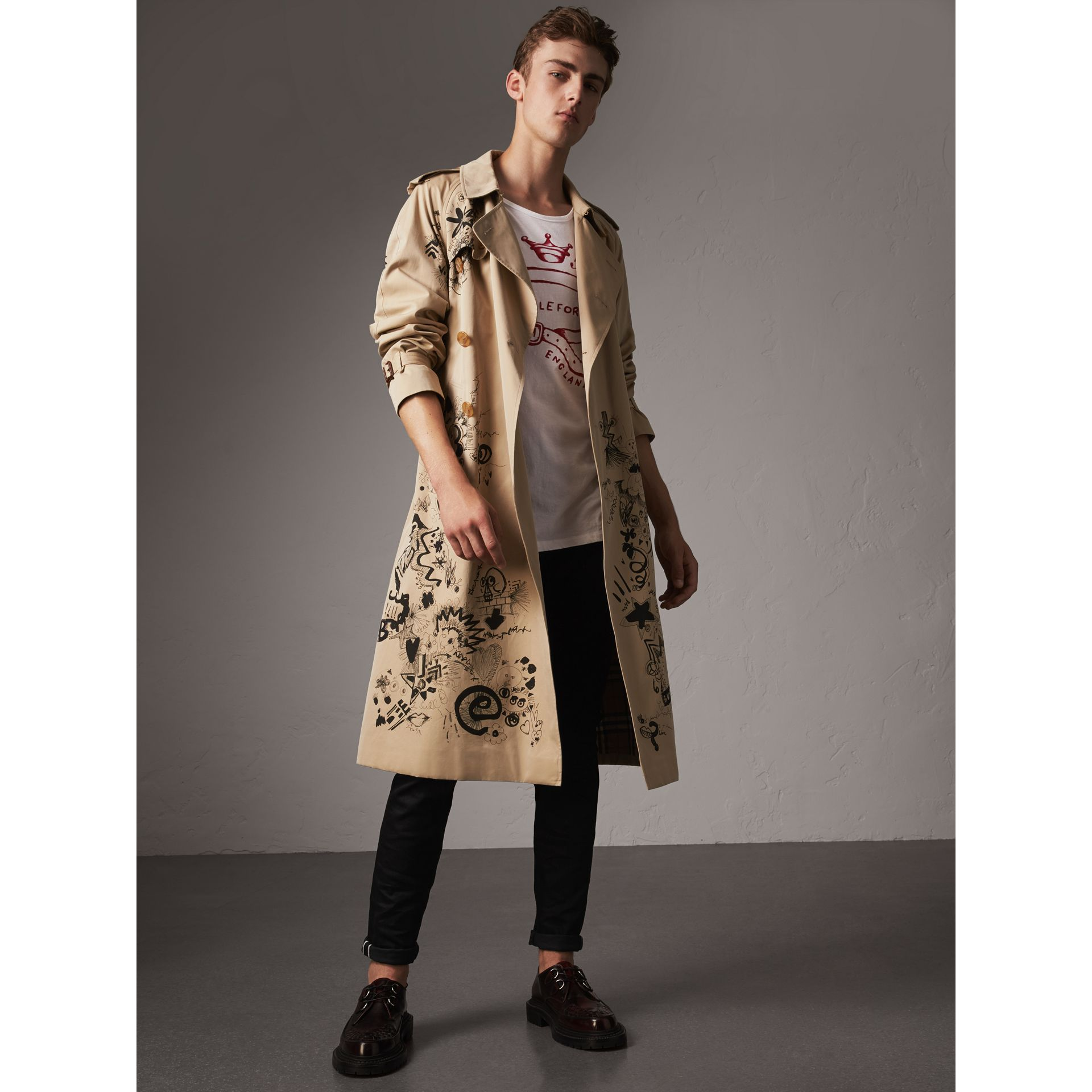Doodle Print Cotton Gabardine Trench Coat in Honey - Men | Burberry - gallery image 0