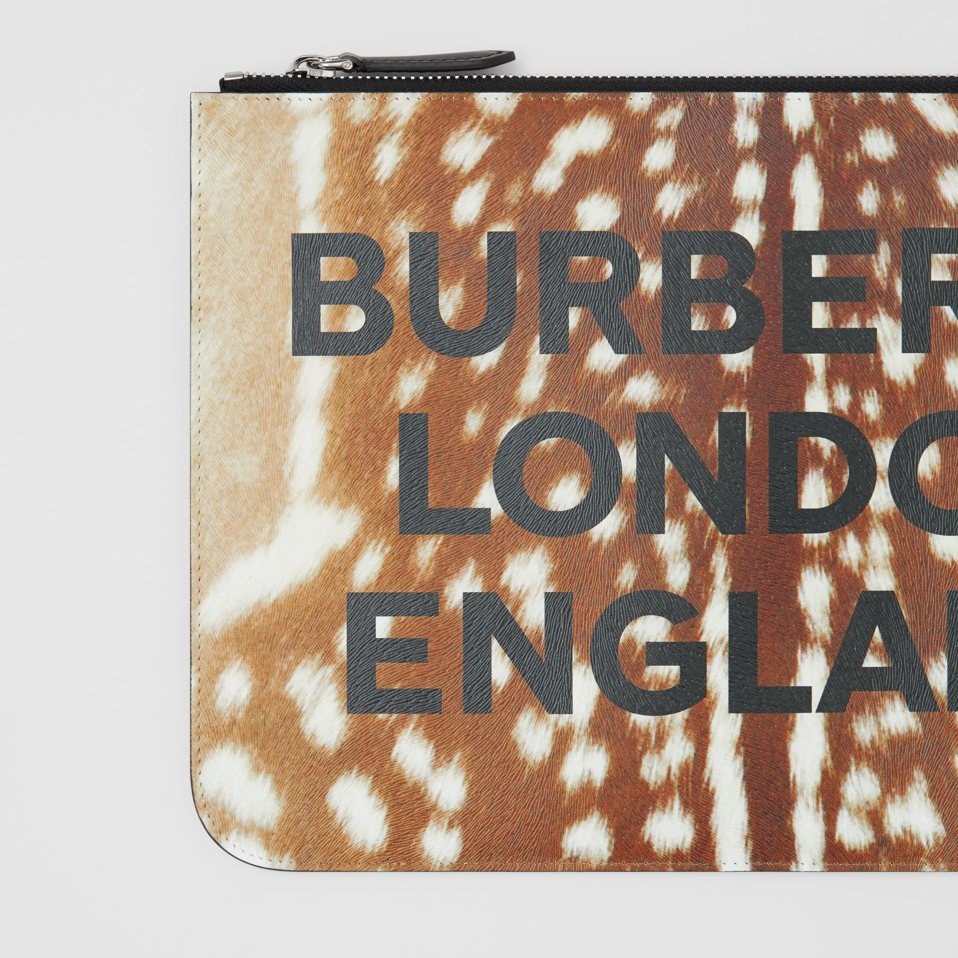 Deer Print Leather Zip Pouch in Tan | Burberry - gallery image 1