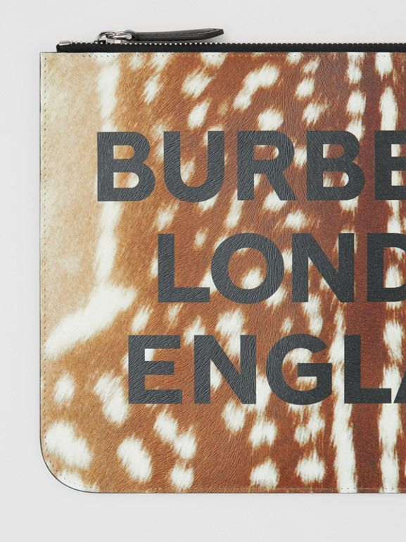 Deer Print Leather Zip Pouch in Tan | Burberry - cell image 1