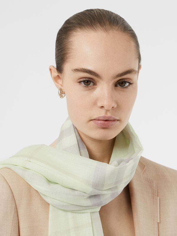 Lightweight Check Wool and Silk Scarf in Limestone | Burberry - cell image 2