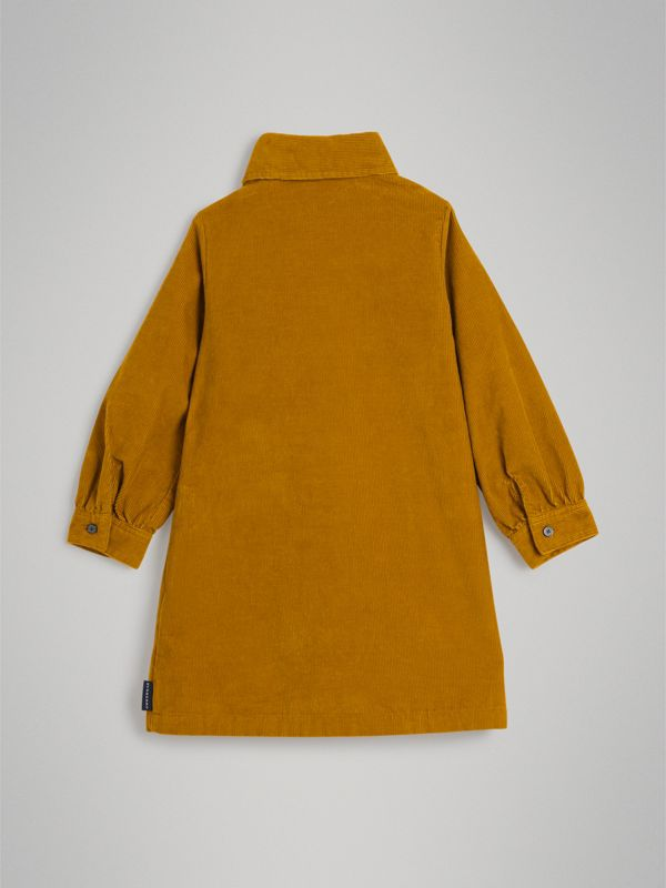 Corduroy Shirt Dress in Ochre | Burberry United Kingdom - cell image 3