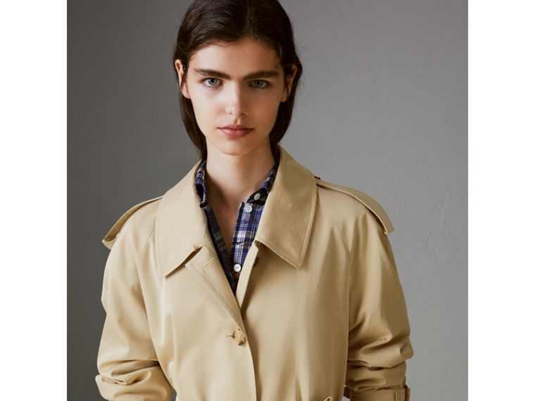 Side-slit Tropical Gabardine Trench Coat in Oatmeal - Women | Burberry United States - cell image 1