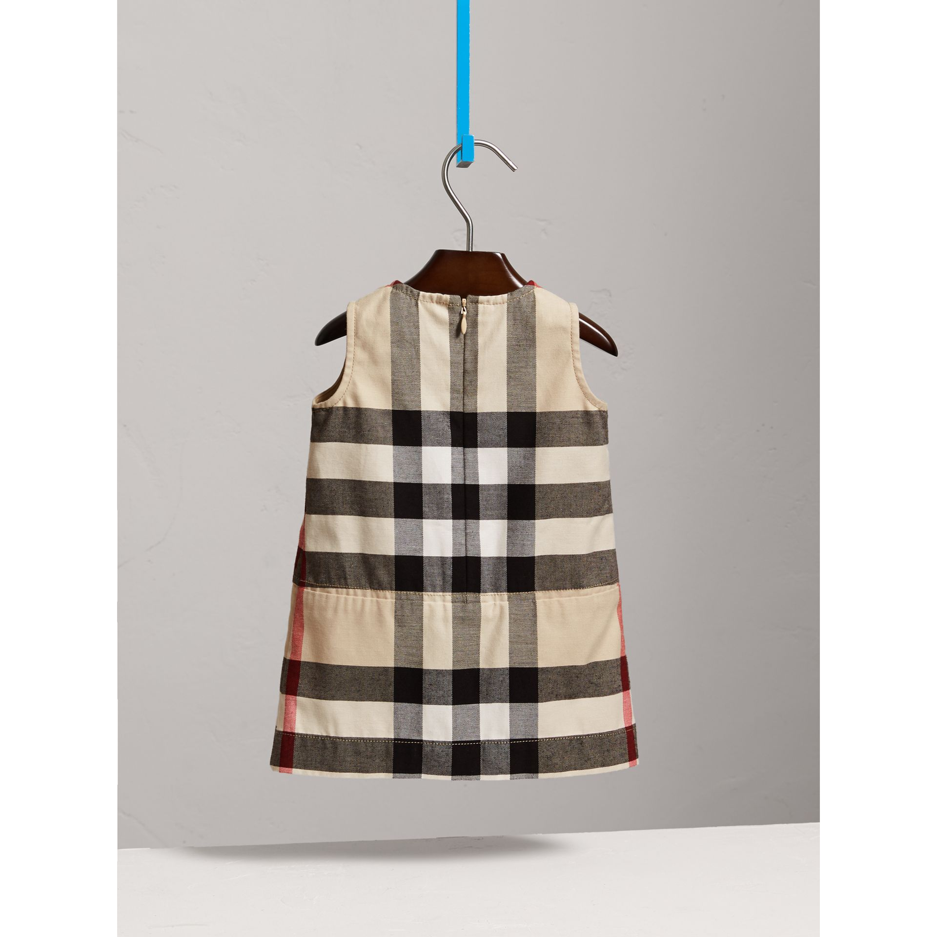 Pleated Washed Check Cotton A-line Dress in Stone | Burberry Australia - gallery image 3