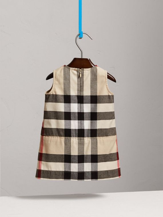 Pleated Washed Check Cotton A-line Dress in Stone | Burberry - cell image 3