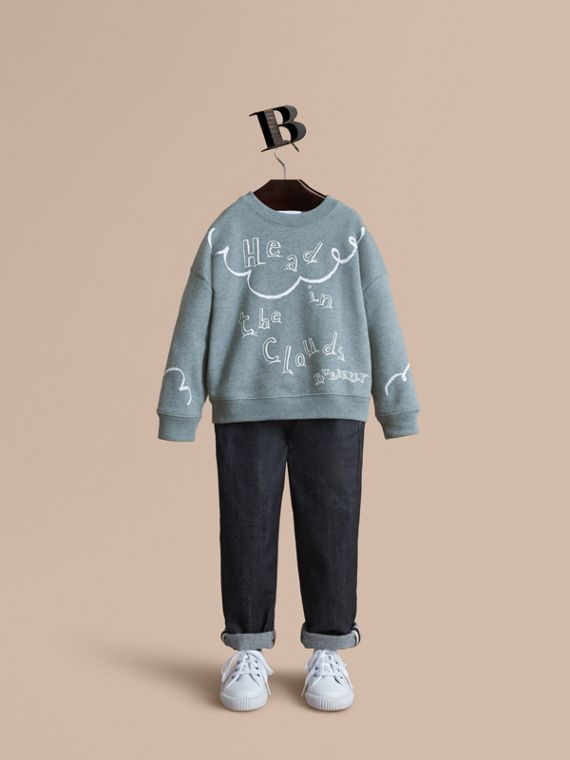Sweat-shirt en coton avec imprimé Head in the Clouds - Fille | Burberry