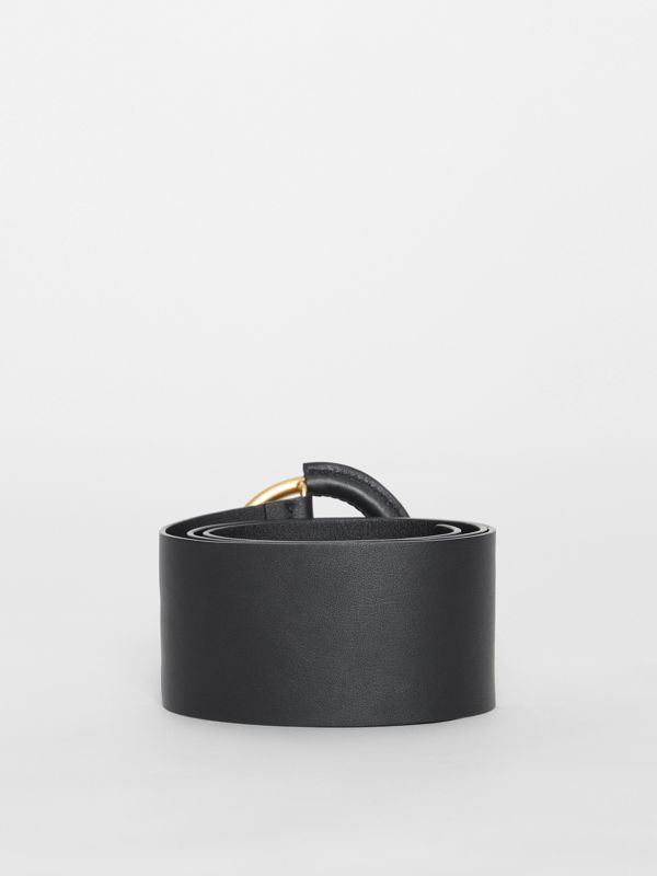 Round Buckle Leather Belt in Black - Women | Burberry - cell image 3