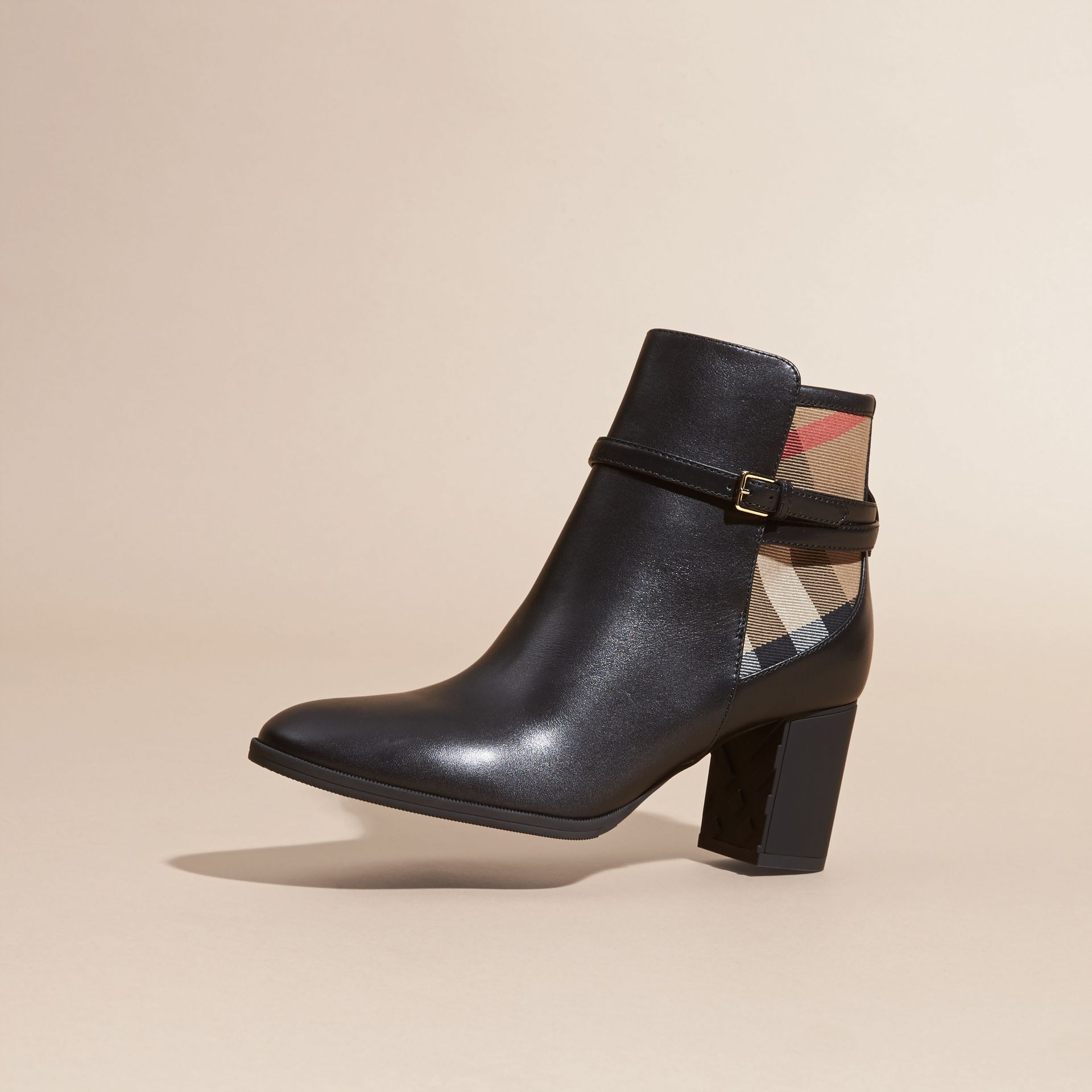 Black House Check and Leather Ankle Boots Black - gallery image 3