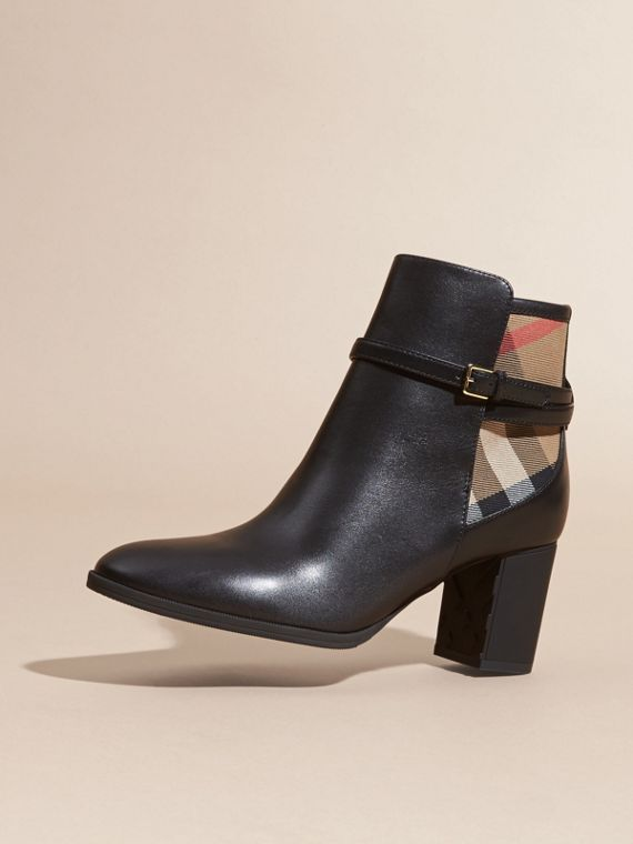 Black House Check and Leather Ankle Boots Black - cell image 2