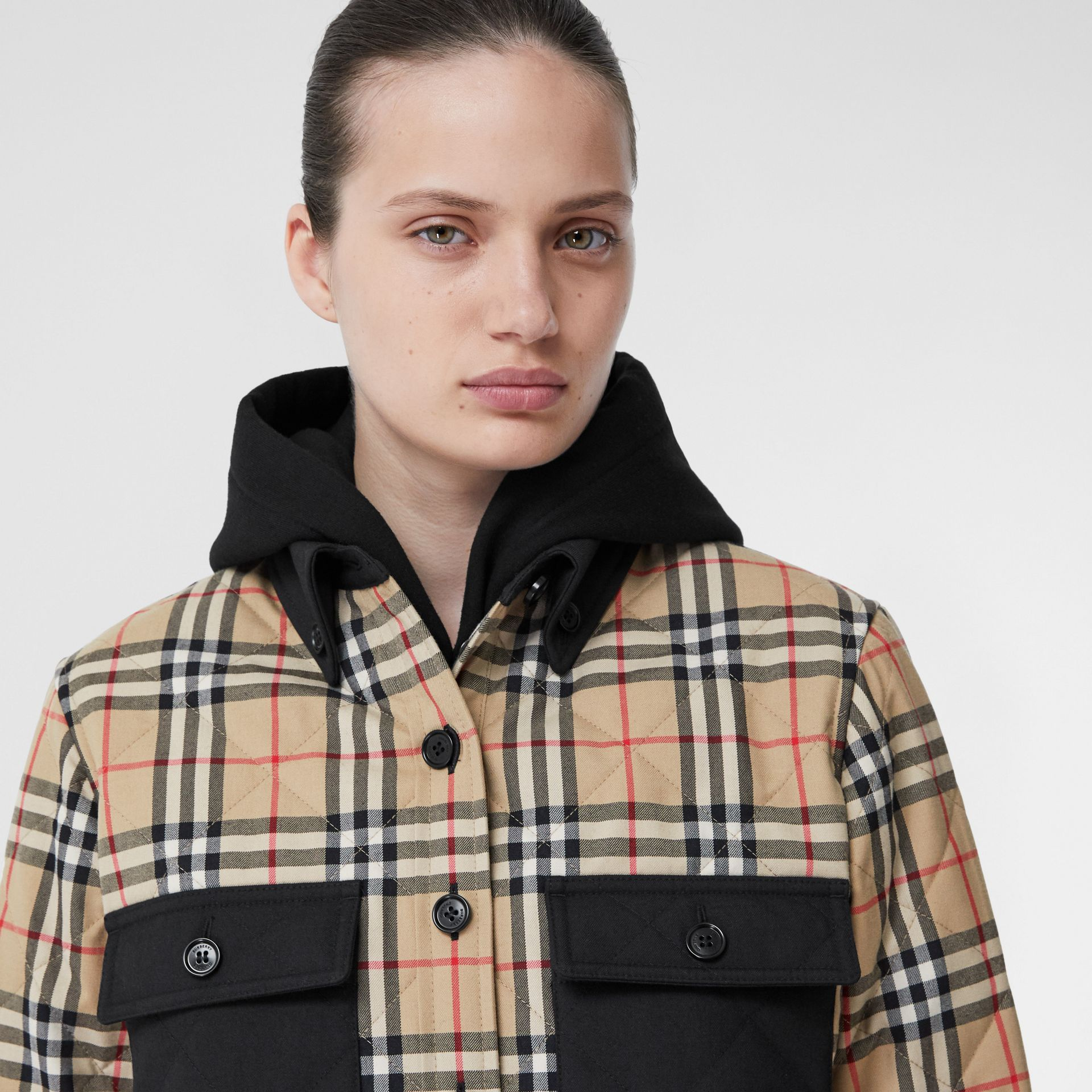 Vintage Check Wool Flannel Overshirt in Archive Beige - Women | Burberry United States - gallery image 1