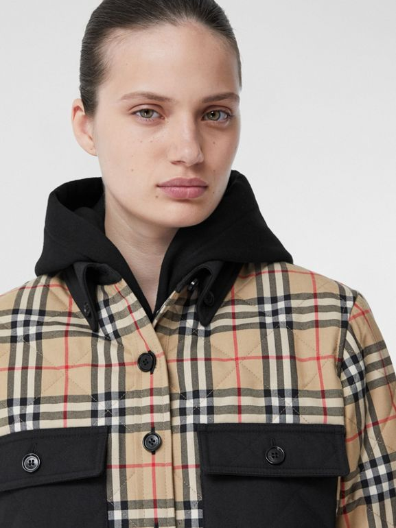 Vintage Check Wool Flannel Overshirt in Archive Beige - Women | Burberry United States - cell image 1
