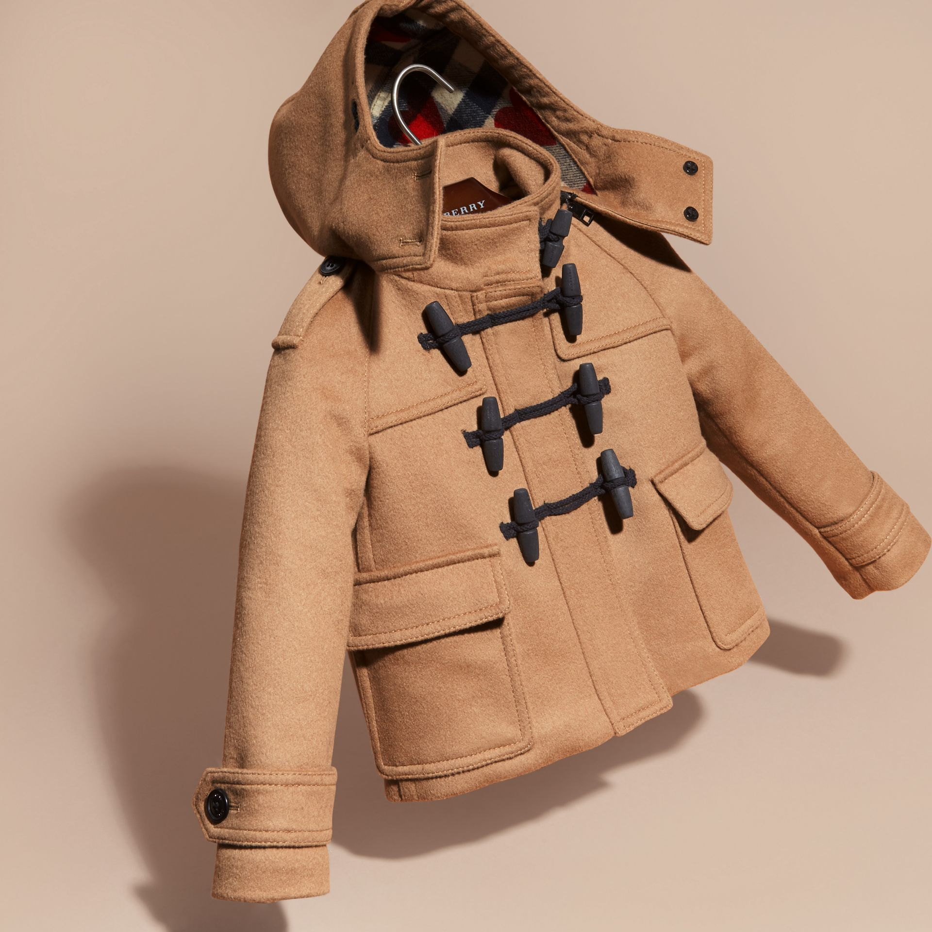 New camel Wool Duffle Coat with Check and Hearts Lining - gallery image 3