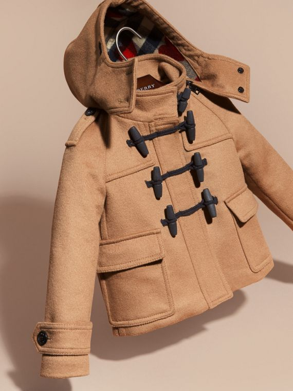 New camel Wool Duffle Coat with Check and Hearts Lining - cell image 2