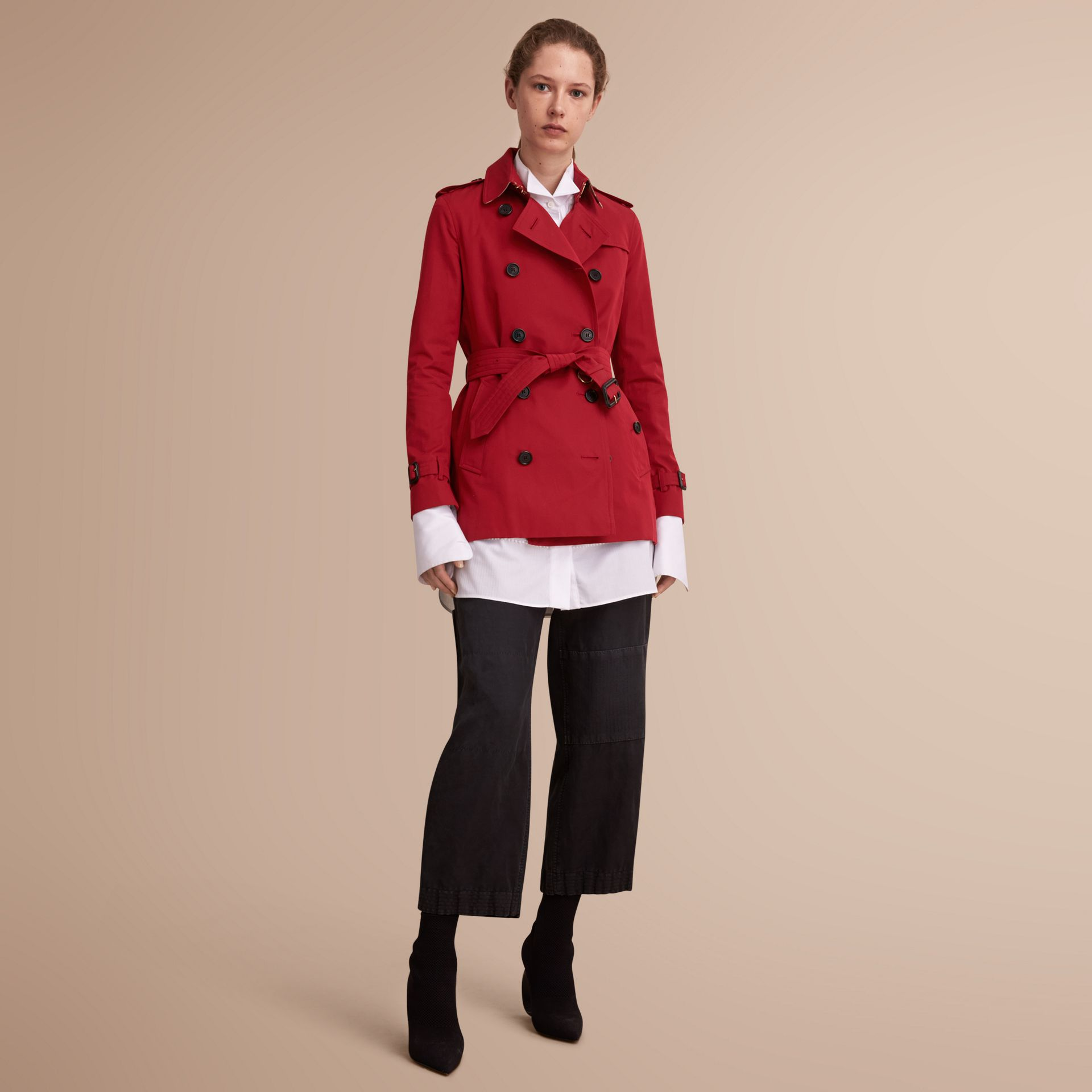 The Kensington – Short Heritage Trench Coat in Parade Red - gallery image 1