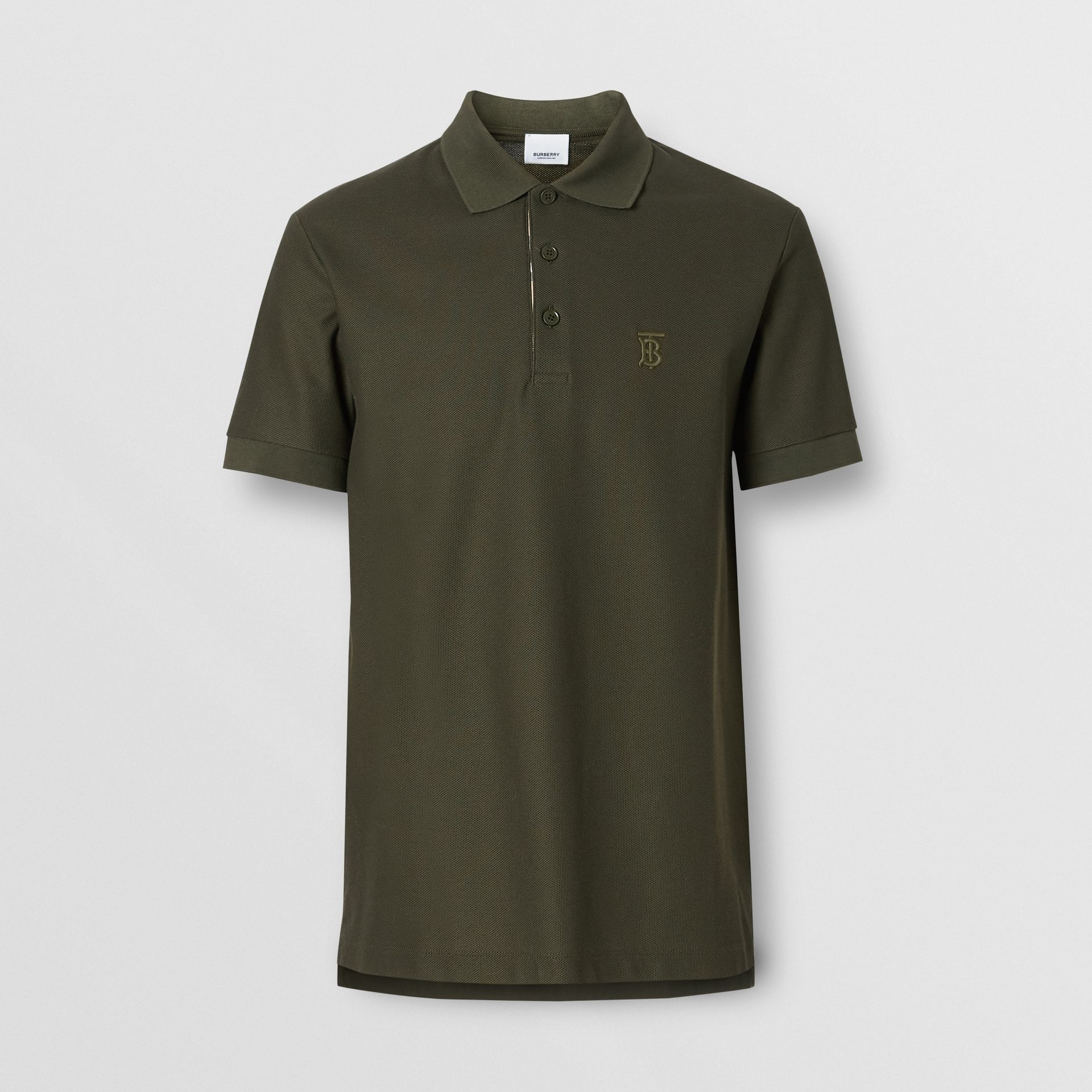 Monogram Motif Cotton Piqué Polo Shirt in Seaweed - Men | Burberry - gallery image 3