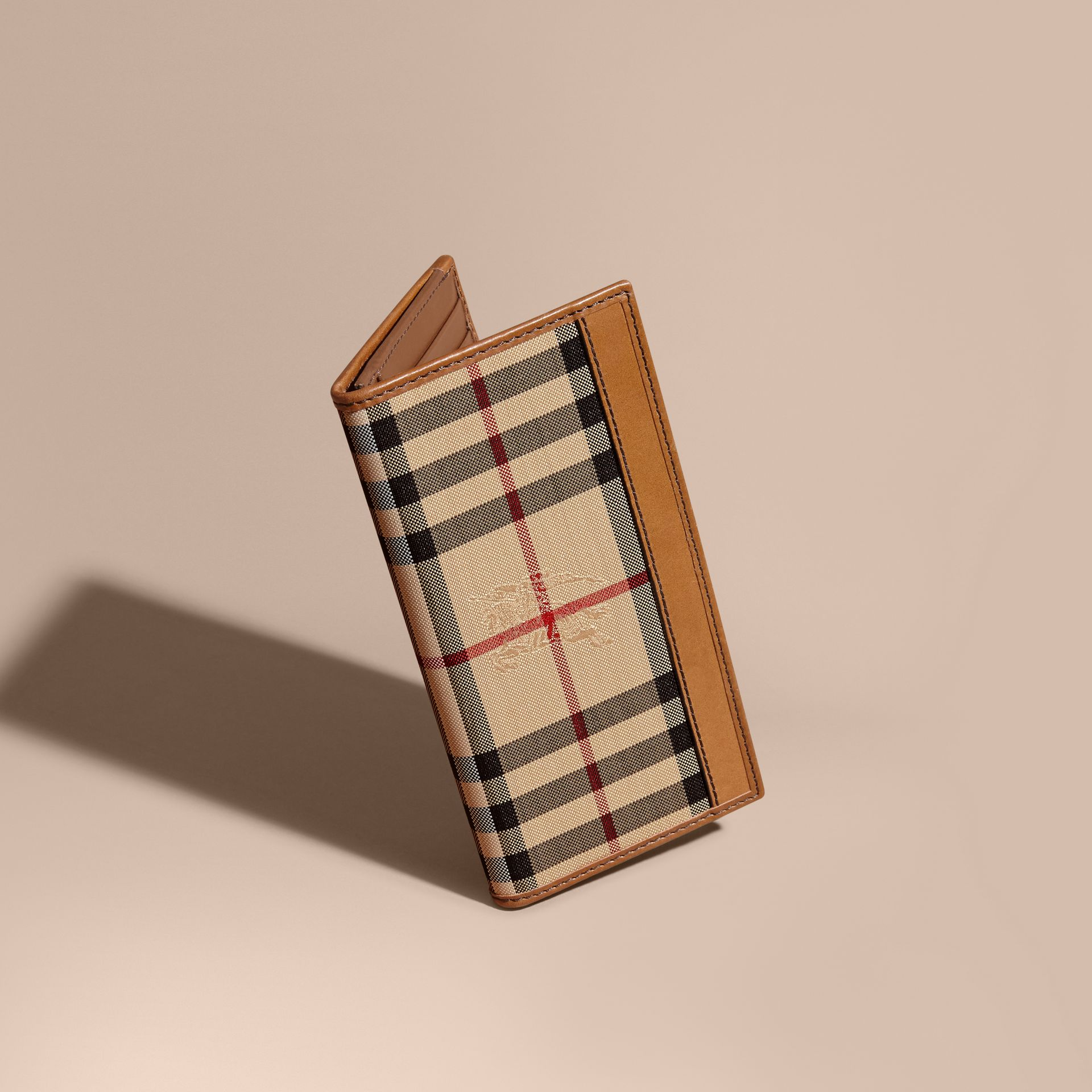 Small Horseferry Check Currency Wallet in Tan - Men | Burberry - gallery image 0