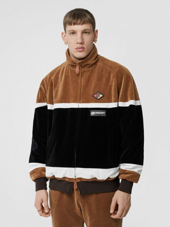 Logo Graphic Striped Chenille Track Top in Dark Walnut