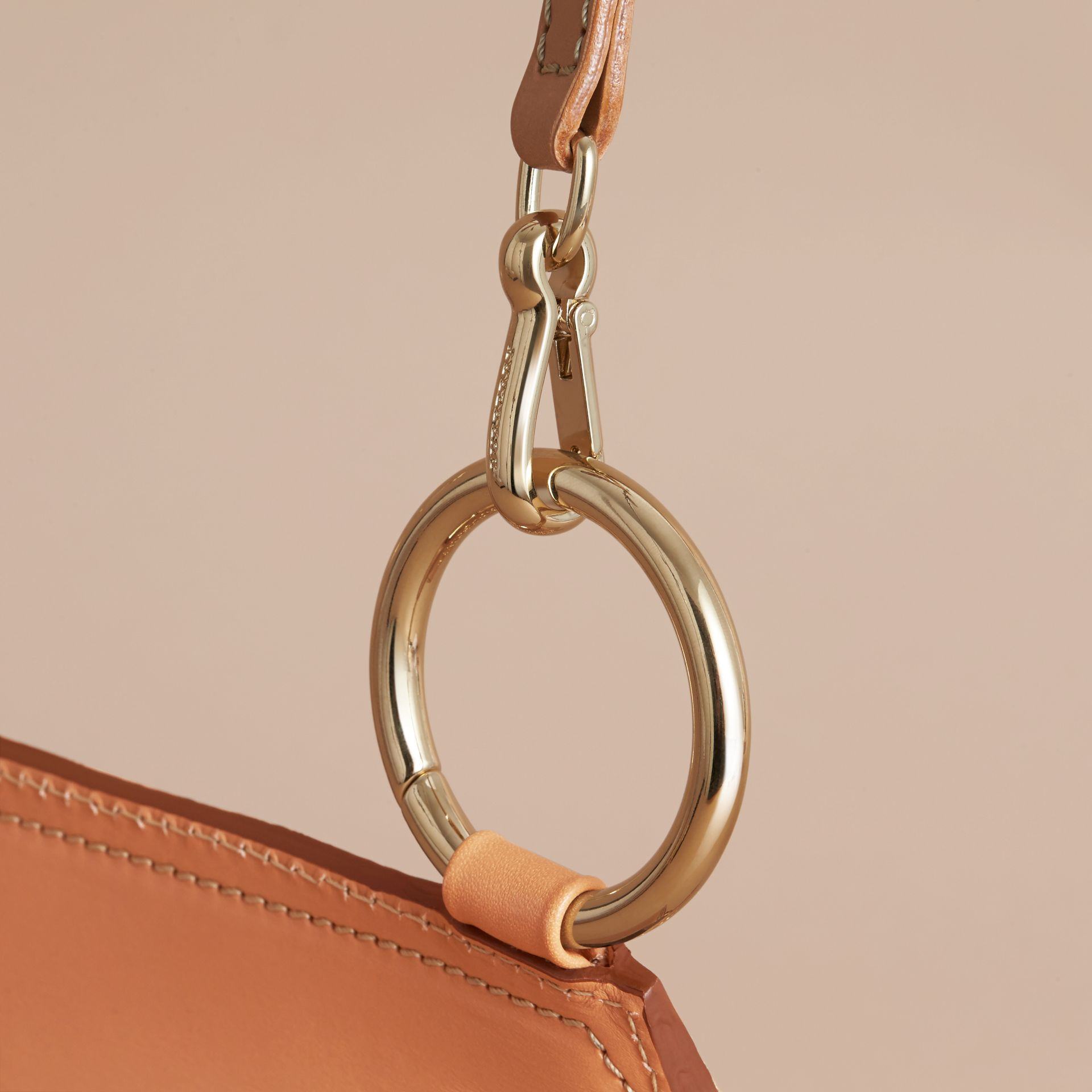 The Bridle Bag in Fruit and Flowers Riveted Leather Pale Clementine - gallery image 2