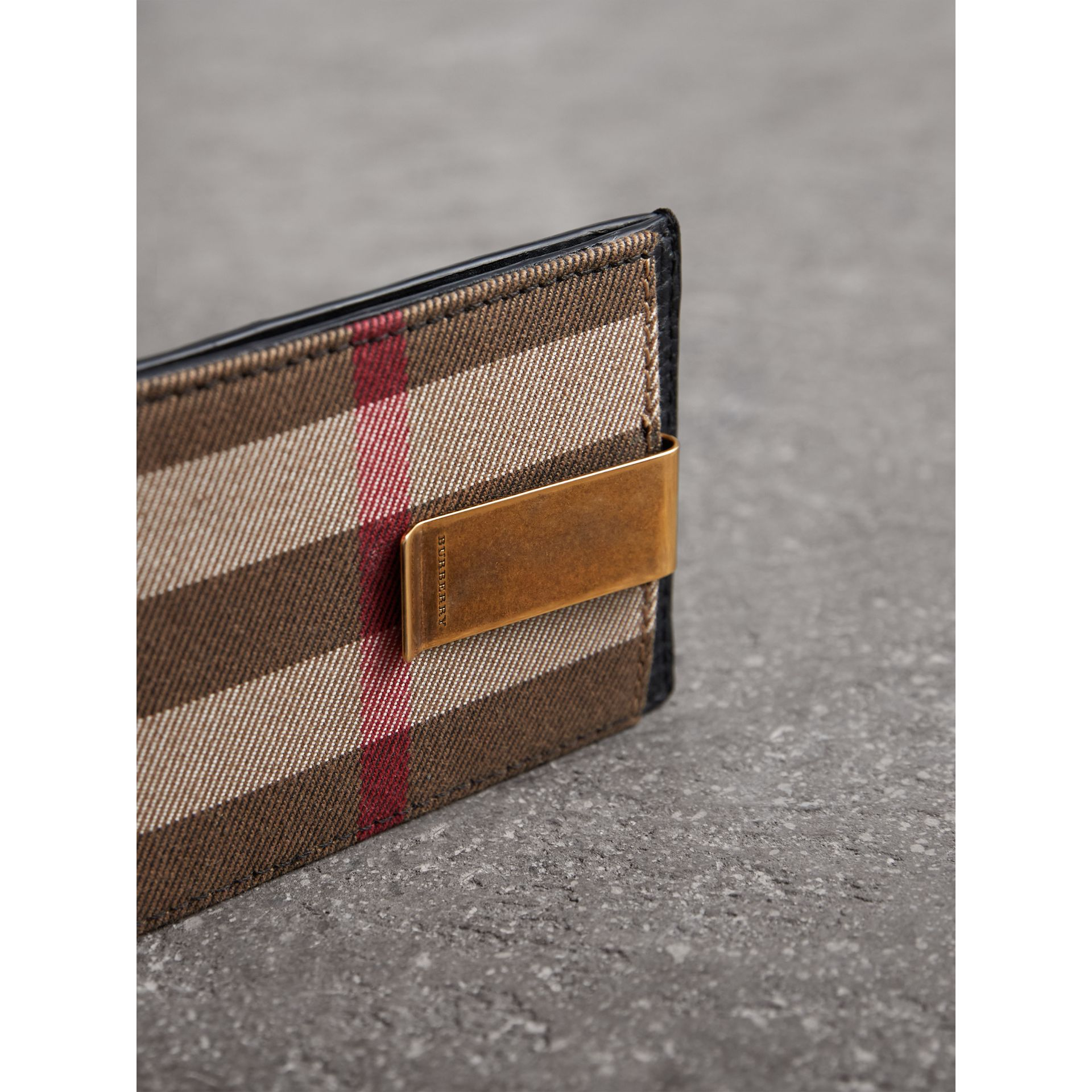 House Check and Leather Money Clip Card Case in Black - Men | Burberry United States - gallery image 1
