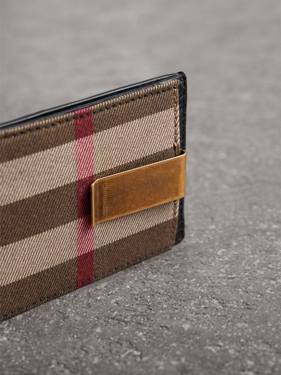 House Check and Leather Money Clip Card Case in Black - Men | Burberry United States - cell image 1