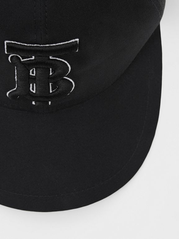 Monogram Motif Baseball Cap in Black / Black | Burberry - cell image 1