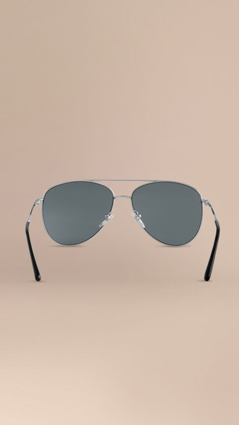 Silver Check Arm Aviator Sunglasses Silver - Image 4