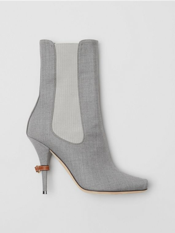 Stretch Wool Blend Peep-toe Boots in Flint