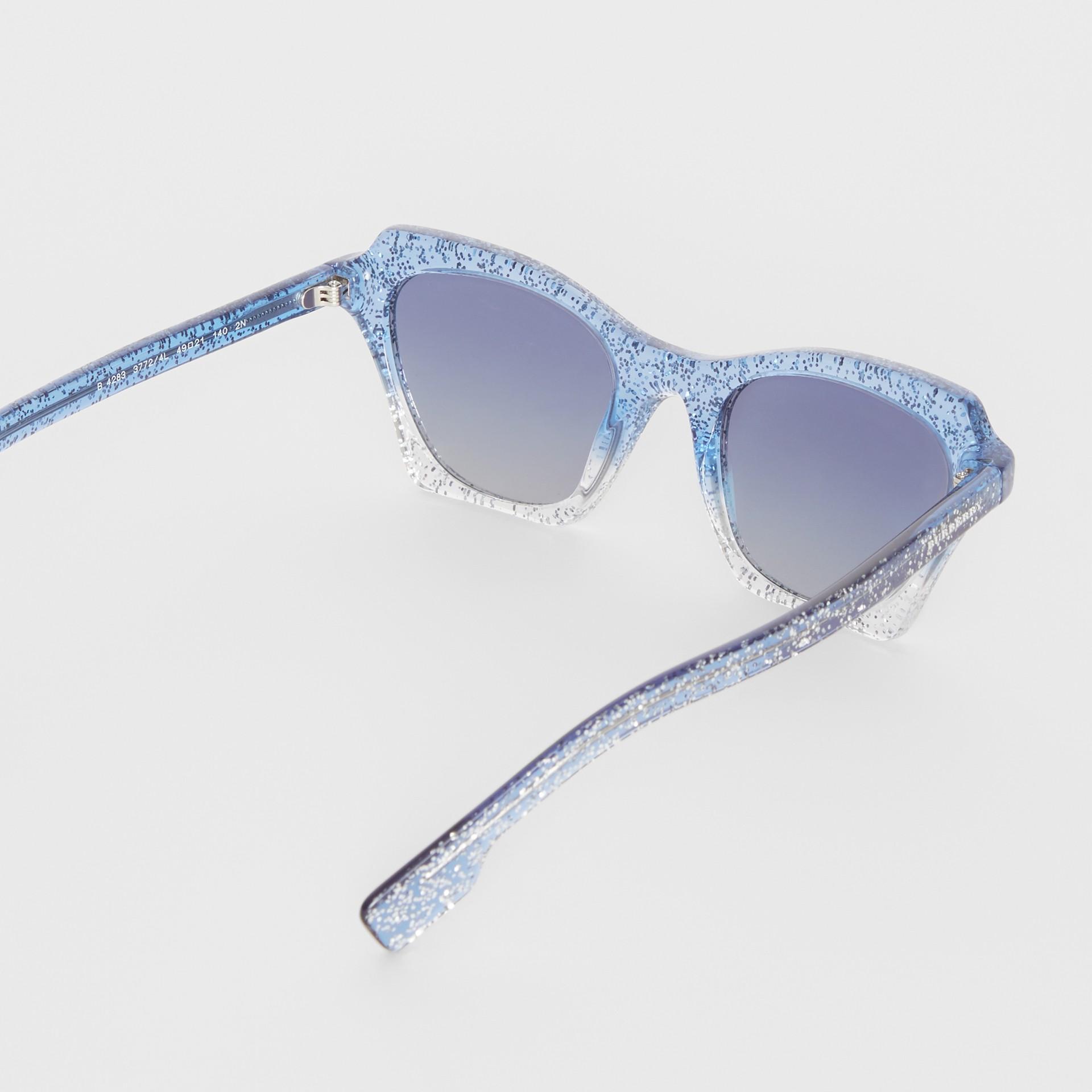 Butterfly Frame Sunglasses in Blue - Women | Burberry Australia - gallery image 3