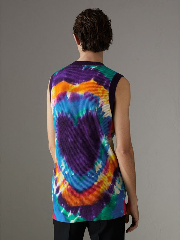 Tie-dye Print Cashmere Vest in Multicolour | Burberry - cell image 2