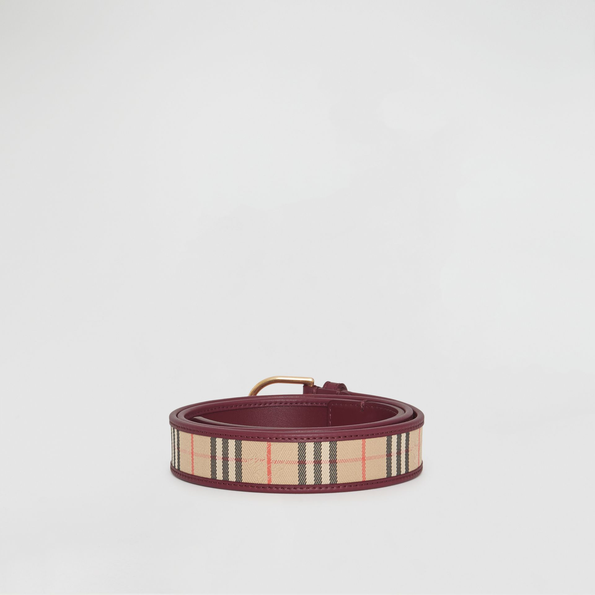 D-ring Buckle 1983 Check and Leather Belt in Antique Red - Men | Burberry Australia - gallery image 4