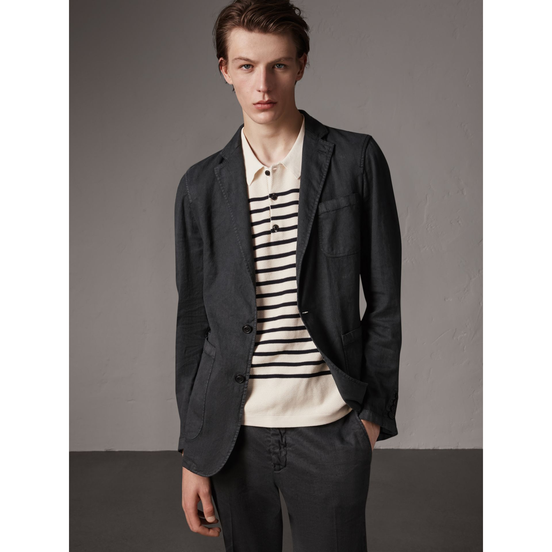 Slim Fit Linen Cotton Tailored Jacket in Dark Charcoal - Men | Burberry - gallery image 0