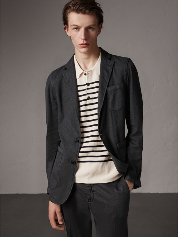 Slim Fit Linen Cotton Tailored Jacket in Dark Charcoal