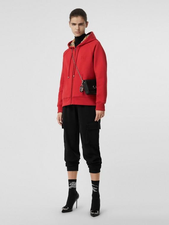 Vintage 格紋細節設計平織連帽上衣 (鎘紅色)
