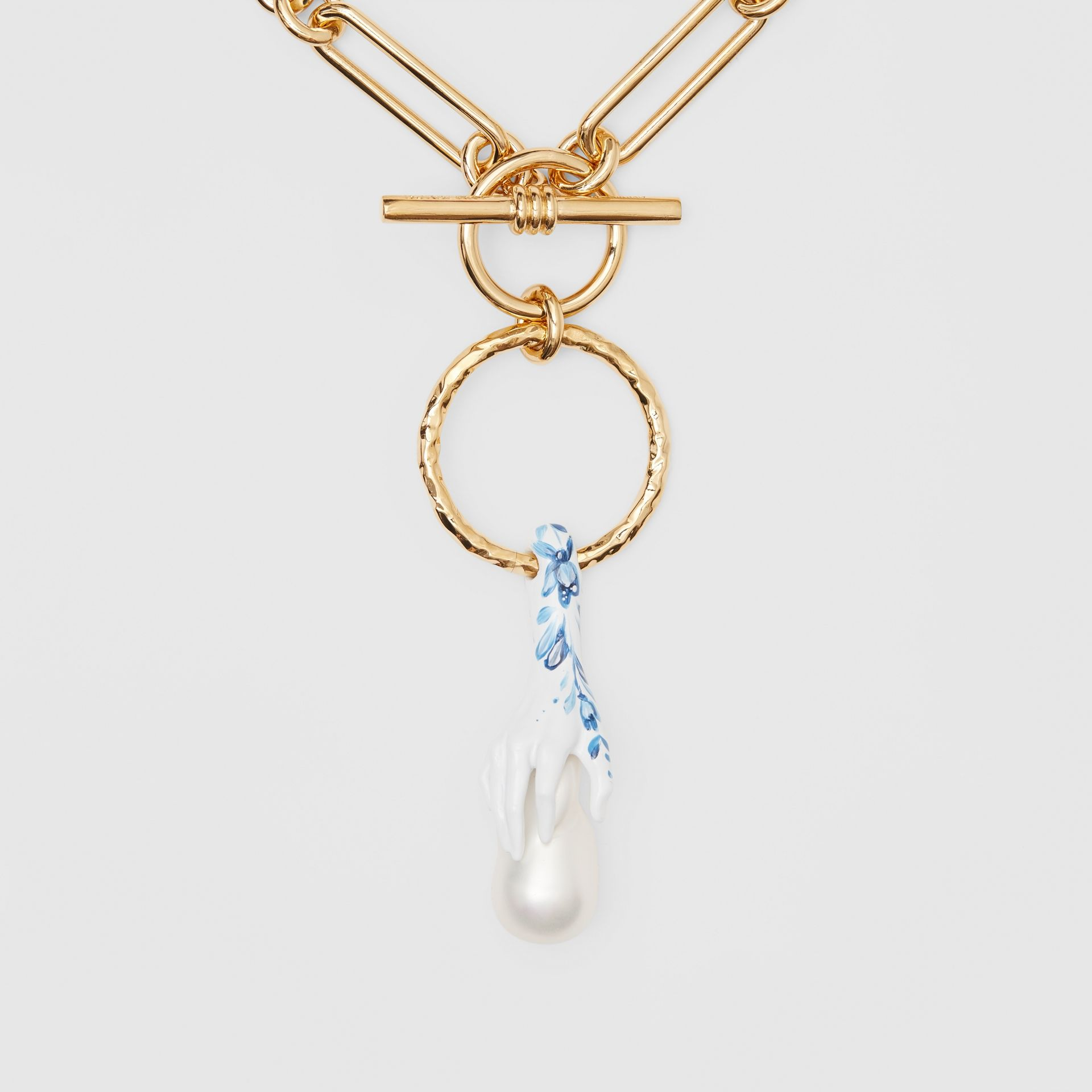 Faux Pearl Detail Gold-plated Chain Necklace in Light Gold/white/blue - Women | Burberry Canada - gallery image 1