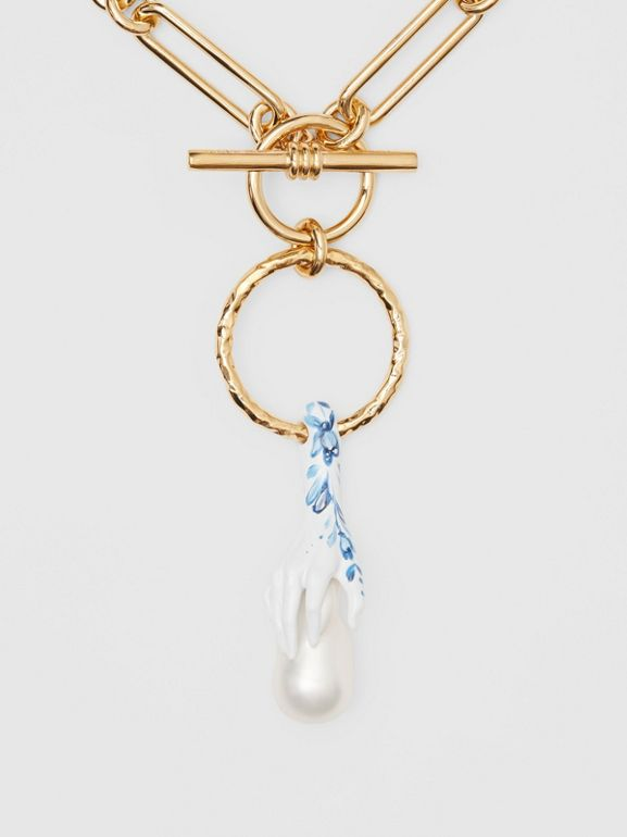 Faux Pearl Detail Gold-plated Chain Necklace in Light Gold/white/blue - Women | Burberry Canada - cell image 1