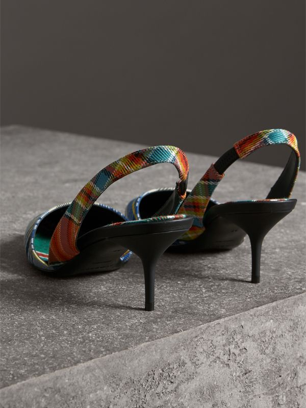 Tartan Cotton Slingback Pumps in Poppy Orange - Women | Burberry - cell image 3