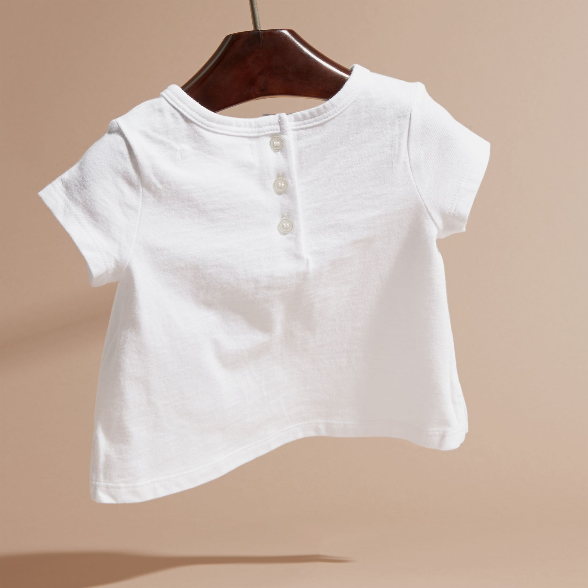 Rosa cenere pallido T-shirt in cotone con lettera decorata - immagine della galleria 4