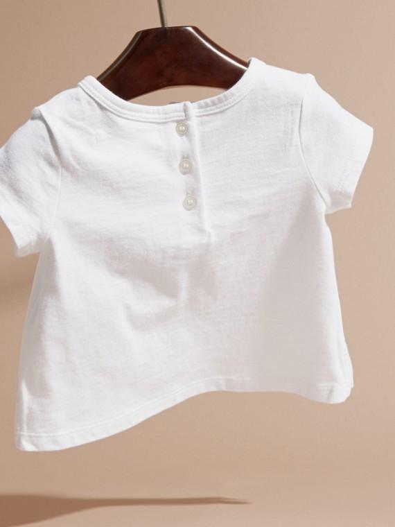 Rosa cenere pallido T-shirt in cotone con lettera decorata - cell image 3