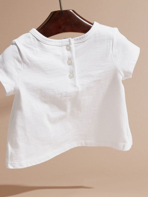Rosa ceniza pálido Camiseta en algodón con motivo de letra ornamental - cell image 3