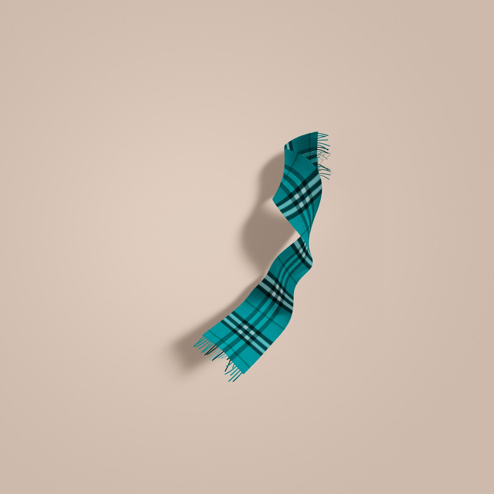 Dark aqua The Classic Cashmere Scarf in Check - gallery image 1