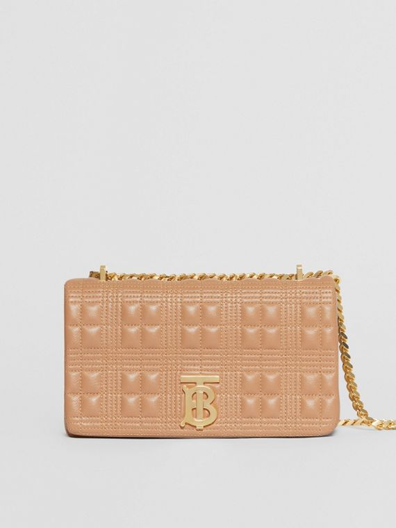 Small Quilted Check Lambskin Lola Bag in Camel