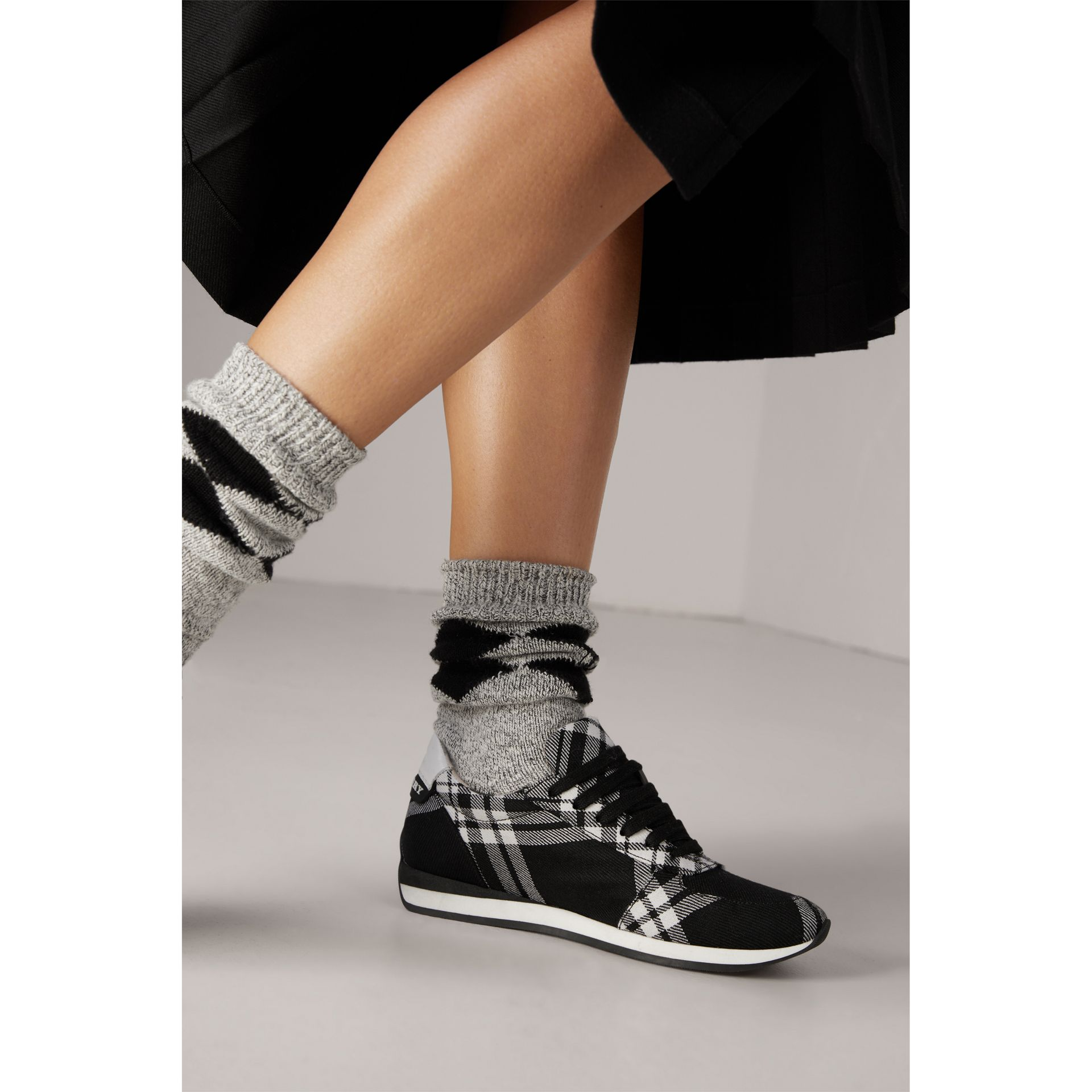 Tartan Wool Sneakers in Black - Women | Burberry - gallery image 2