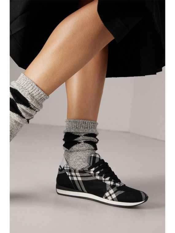 Tartan Wool Trainers in Black - Women | Burberry - cell image 2